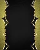 Härlig guld- ram med guldprydnader på svart bakgrund Beståndsdel för design Mall för design kopieringsutrymme för annonsbroschyr royaltyfria foton