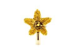 Härlig guld- stjärna formad julprydnad som isoleras på whit Royaltyfria Bilder
