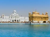 Härlig guld- tempel med sjön i Indien Arkivfoton