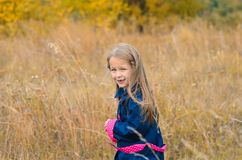 härlig gullig flicka i kläder på bakgrund av autuen royaltyfri foto
