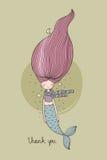 Härlig gullig tecknad filmsjöjungfru med långt hår siren abstrakt tema för abstraktionbakgrundshav Arkivbild