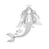 Härlig gullig tecknad filmsjöjungfru med långt hår siren abstrakt tema för abstraktionbakgrundshav Fotografering för Bildbyråer