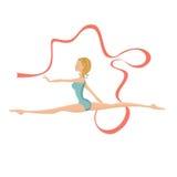 Härlig gymnastisk flicka som utför med bandet Fotografering för Bildbyråer
