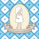 Härlig hälsningkortdesign med gravida kvinnan för lycklig kvickhet Royaltyfria Bilder