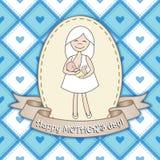 Härlig hälsningkortdesign med sjukvårdkvinnan för lycklig mal Arkivbild