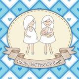 Härlig hälsningkortdesign med två kvinnor för lycklig moder Arkivfoton