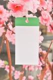 härlig hängande paper treewhite för memo royaltyfria foton