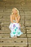 Härlig hög blond kvinna Royaltyfria Foton