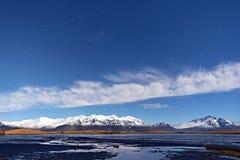 Härlig högland och sjö med bakgrund för blå himmel, Island arkivfoton