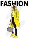 Härlig, högväxt och spenslig flicka i ett stilfullt lag, byxa och exponeringsglas Stilfull kvinna i hög-heeled skor Mode & stil V vektor illustrationer
