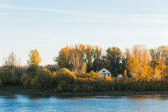 Härlig höstnatur, landskap med floden, träd och hus royaltyfri bild