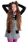 härlig haired lång kvinna Arkivfoton