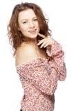 härlig haired model röd white för bakgrund Fotografering för Bildbyråer