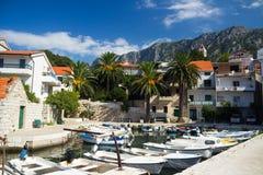 Härlig hamn i Kroatien Arkivbilder