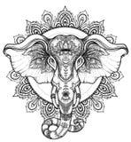 Härlig hand-dragen stam- stilelefant över mandala Colorfu stock illustrationer