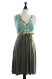 Härlig handgjord klänning på manequin Arkivfoto