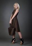 härlig handväskakvinna Arkivfoto