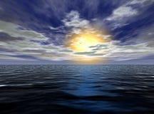 härlig havsolnedgång Arkivbilder