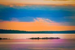 härlig havssolnedgång Royaltyfri Foto