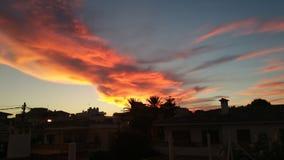 Härlig himmel över Cala Ratjada Royaltyfria Bilder