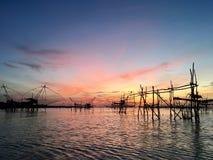 Härlig himmel i morgonen på Phatthalung Thailand Arkivfoto
