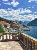Härlig historisk stad av Perast, Montenegro Royaltyfri Fotografi