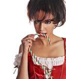 härlig hjälpreda little s sexiga santa Royaltyfri Foto