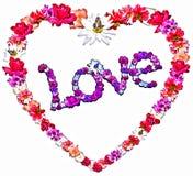Härlig hjärta med legenden som göras av olika blommor Royaltyfri Foto