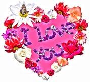 Härlig hjärta med legenden som göras av olika blommor Arkivbilder