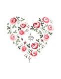 Härlig hjärta som göras av rosor Vektor Illustrationer