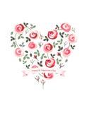 Härlig hjärta som göras av rosor arkivfoton