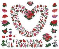 Härlig hjärta som göras av vallmo och tulpan med den isolerade ändlösa gränsen på vit bakgrund royaltyfri illustrationer