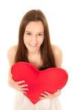 härlig hjärta som rymmer den röda kvinnan ung Royaltyfri Fotografi