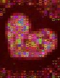 Härlig hjärtaformbakgrund i rött spektrum Arkivfoton