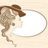 Härlig huvudkontur för ung dam barock stil Stock Illustrationer