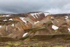 härlig iceland liggande Landmannalaugar royaltyfri fotografi