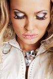 härlig idérik makeupkvinna Royaltyfria Bilder