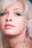 härlig idérik makeupkvinna Royaltyfria Foton