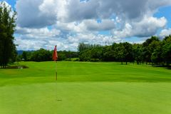 Härlig idyllisk sikt av gräsplan med den röda flaggan och sikt av skogen, blå himmel med moln Fotografering för Bildbyråer