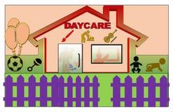 Härlig illustration av en Daycare stock illustrationer