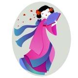 Härlig illustration av en geisha i rosa kimono vektor illustrationer