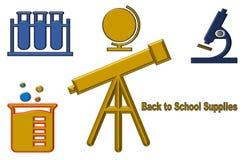 Härlig illustration av tillbaka till skolatillförsel royaltyfri illustrationer