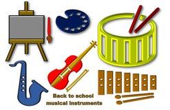 Härlig illustration av tillbaka till skolatillförsel av musikinstrument vektor illustrationer