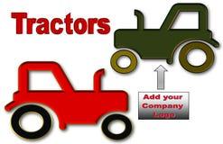 Härlig illustration av traktorer med utrymme för logo och annonsering stock illustrationer