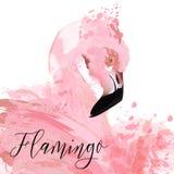 Härlig illustration med rosa flamma som målas av vektorfärgpulver s Arkivbild