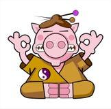 härlig illustrationpigsamurai Royaltyfria Bilder