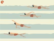 Härlig illustrationvektor av momentet som utför ryggsimsimning, simningdesign Royaltyfri Fotografi