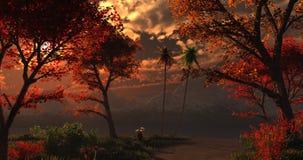 Härlig imaginär skog under solnedgång eller soluppgång stock illustrationer
