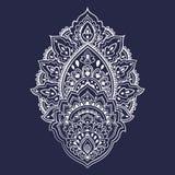 Härlig indisk blom- prydnad Etnisk Mandala Hennatatuering s royaltyfri illustrationer