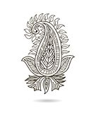 Härlig indisk blom- prydnad för din affär linje för hand för blomma för konstdesigndraw traditionell ukrainare för utsmyckad stil Arkivbild